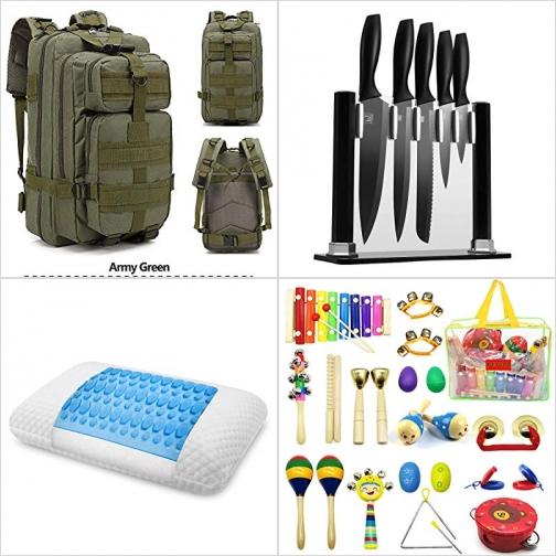 [Amazon折扣碼] 30L背包, 不銹鋼刀組, 凝膠記憶棉枕頭, 兒童樂器一組 額外折扣!
