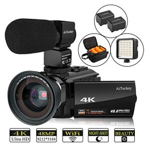 ihocon: AiTechny Ultra HD WiFi 4K Camcorder, Touch Screen, IR Night Vision攝影機, 含相機包, 麥克風, 補光燈, 廣角鏡頭, 2個電池