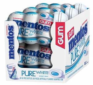 ihocon: Mentos Pure White Sugar-Free Chewing Gum with Xylitol, Sweet Mint, Non Melting, 50 Piece Bottle (Pack of 6) 純白無糖口香糖木糖醇,甜薄荷,不熔化,50片裝(6包)