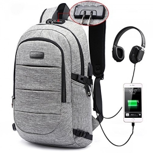 ihocon: AMBOR Anti Theft Waterproof Laptop Backpack with USB Charging Port & Headphone interface防竊, 防水電腦背包