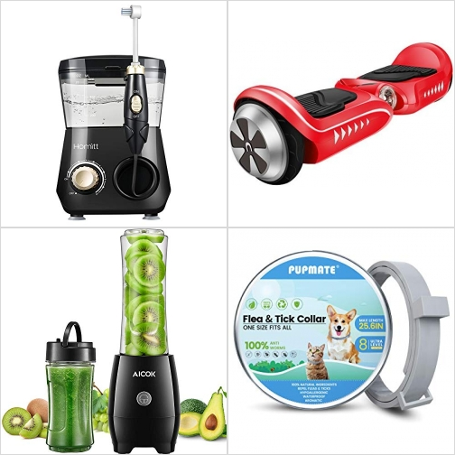 [Amazon折扣碼] 電動沖牙機/水牙線, 兩輪自平衡電動滑板 , 個人果汁機, 猫/狗防蚤頸圈 額外折扣!