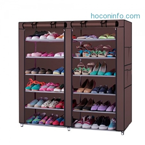 ihocon: Z ZTDM 6-Tiers 12 Lattices Non-woven Fabric Shoe Cabinet鞋櫃含布質cover