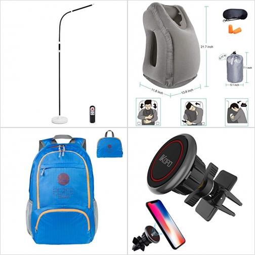 [Amazon折扣碼] 遙控立燈, 充氣旅行枕, 超輕防水可折疊背包, 汽車磁性固定器 額外折扣!