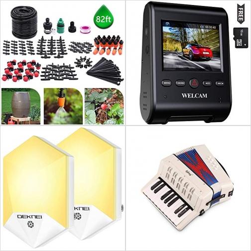 [Amazon折扣碼] 水龍頭澆花/滴灌組, 行車記錄器, 自動開關LED夜燈, 手風琴 額外折扣!