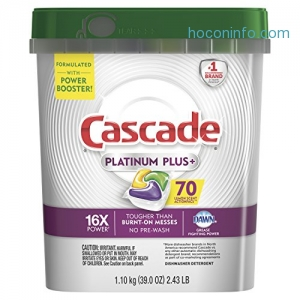ihocon: Cascade洗碗機清潔劑 Platinum Plus Dishwasher Detergent Actionpacs, Lemon, 70 Count