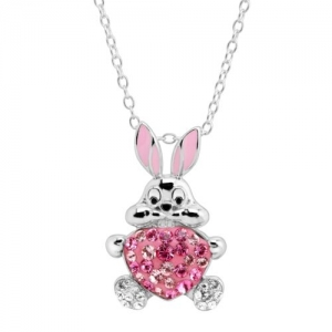 ihocon: Crystaluxe Bunny Heart Pendant with Swarovski Crystals in Sterling Silver 925純銀水晶兔子項鍊(施華洛世奇水晶)