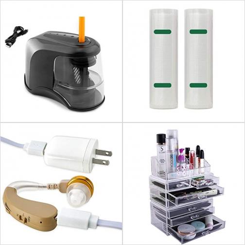 [Amazon折扣碼] 自動削鉛筆機, 食物真空保鮮袋, 助聽器, 化妝品收納架 額外折扣!