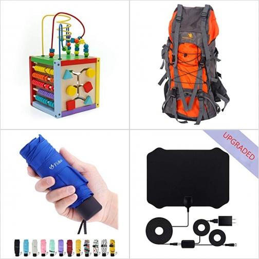 [Amazon折扣碼] 製幼兒學習玩具, 登山背包, 折傘, 室內天線 額外折扣!