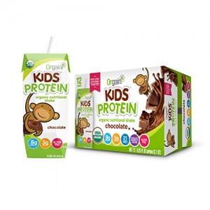 ihocon: Orgain Kids Protein Organic Nutritional Shake, Chocolate, Gluten Free, Non-GMO, Kosher, 8.25 Ounce, (Pack of 12) 有機蛋白質營養巧克力奶昔