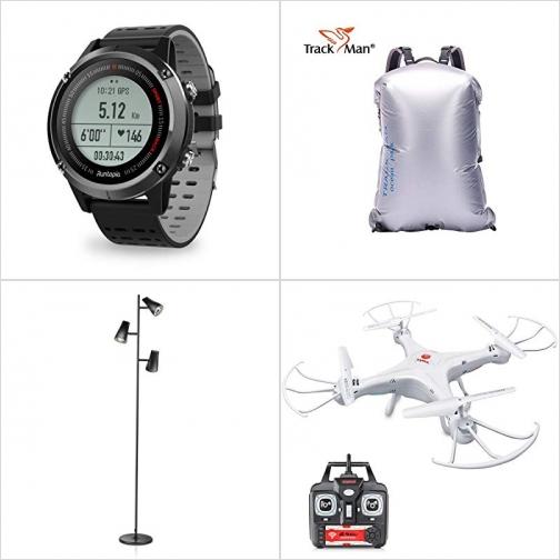 [Amazon折扣碼] GPS/心率監測運動錶, 20L防水背包, LED立燈, 空拍機玩具 額外折扣!