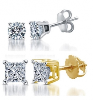 ihocon: DeCarat 1/10-1.00 CTTW Certified I2-I3 Diamond Studs in 14K 14K金/14K白金鑽石耳環
