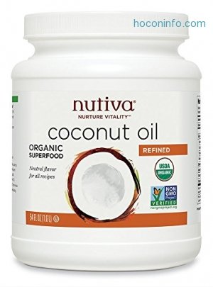 ihocon: Nutiva Organic, Neutral Tasting, Steam Refined Coconut Oil from non-GMO, Sustainably Farmed Coconuts, 54 Fluid Ounces有機椰子油