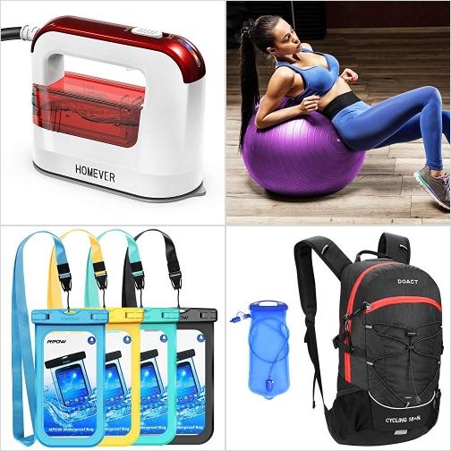 [Amazon折扣碼] 蒸氣熨斗, 運動健身球, 手機防水套, 水袋背包 額外折扣!