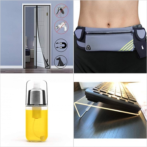 [Amazon折扣碼] 磁性紗門, 慢跑腰包, 噴油瓶, 壓克力鍵盤架 額外折扣!