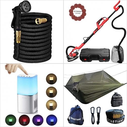 [Amazon折扣碼] 伸縮澆花水管, 打磨機, 藍芽LED夜燈Speaker, 吊床 額外折扣!