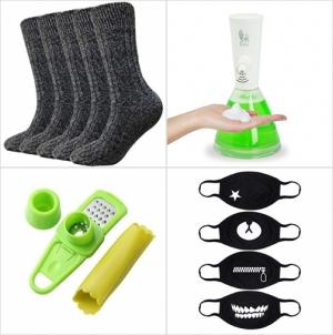 [Amazon折扣碼] 男襪/女襪, 自動泡沫給皂機, 大蒜去皮器及磨泥器, 可愛口罩 額外折扣!