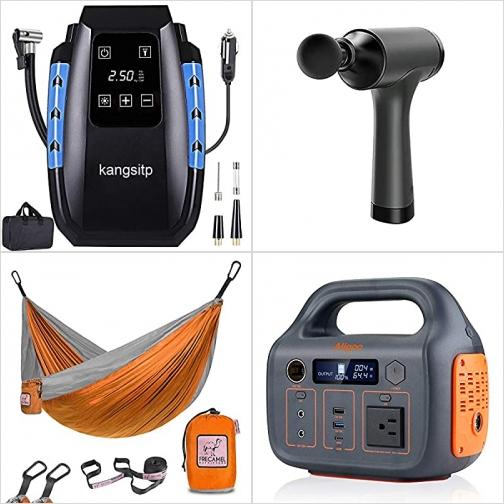 [Amazon折扣碼] 汽車電動打氣機, 深層按摩槍, 單人吊床, 便攜儲電器/行動電源 額外折扣!