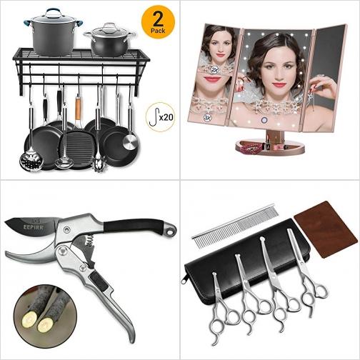 [Amazon折扣碼] 廚具吊架, LED照明化妝鏡, 園藝剪, 寵物理毛剪刀 額外折扣!