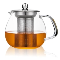 ihocon: Glass Teapot with Stainless Steel Infuser and Lid,26oz/750ml 玻璃泡茶壺