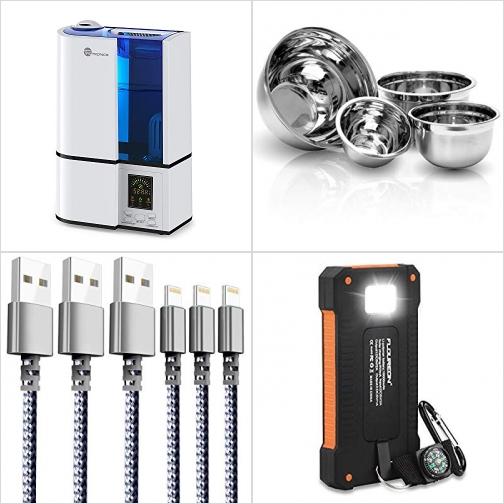 [Amazon折扣碼] 室內加濕機, 不銹鋼Mixing Bowls, iPhone充電線, 太陽能10000mAh 行動電源/充電寶 額外折扣!