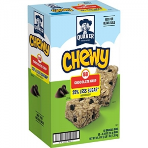 ihocon: Quaker Chewy Granola Bars, 25% Less Sugar, Chocolate Chip, 58 Count