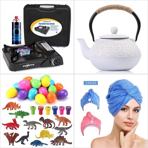 [Amazon折扣碼] 便攜瓦斯爐, 日式鑄鐵茶壺, 恐龍Easter Eggs, 洗髮包頭巾 額外折扣!