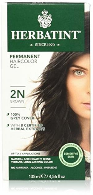 ihocon: Herbatint Permanent Herbal Hair Color Gel, 2N Brown, 4.56 Ounce 植物染髮劑