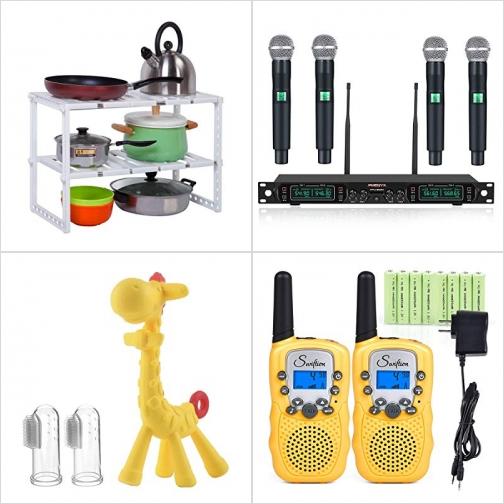 [Amazon折扣碼] 水槽下方置物架, 無線麥克風系統, 嬰兒固齒器及指套牙刷, 兒童Walkie Talkies對講機 額外折扣!