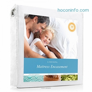 ihocon: LINENSPA Zippered Encasement Waterproof, Dust Mite Proof, Bed Bug Proof, Hypoallergenic Breathable Mattress Protector - Cal King Size