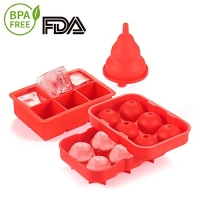 ihocon: Silicone Ice Cube Tray Combo,2-Inch Large Size(Set of 2)矽膠製冰盒