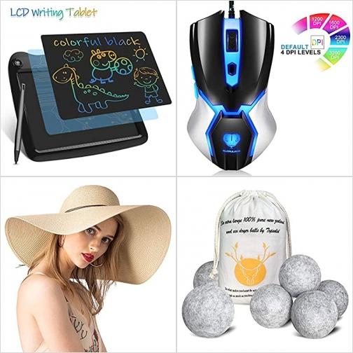 [Amazon折扣碼] LCD 手寫/繪圖板, 遊戲滑鼠, 遮陽女帽, 烘衣羊毛球 額外折扣!