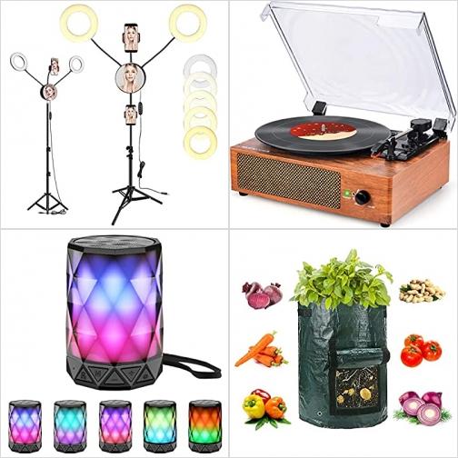 [Amazon折扣碼] 自拍環形燈手機架, 黑膠唱盤撥放器, 藍芽Speaker, 種植袋 額外折扣!