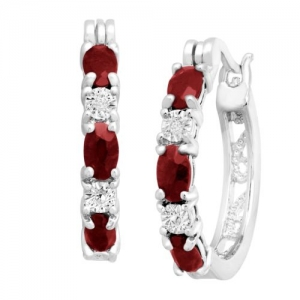 ihocon: 1 1/2 ct Natural Garnet Hoop Earrings with Diamonds Platinum over Brass 1/2克拉天然石榴石耳環