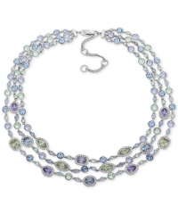 ihocon: Givenchy Silver-Tone Multi-Crystal Triple-Row Collar Necklace, 16 + 3 extender紀梵希水晶項鍊