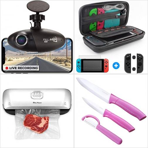 [Amazon折扣碼] 汽車行車記錄器, Switch收納袋, 食物保鮮真空機, 陶磁刀組 額外折扣!