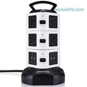 ihocon: JACKYLED 3000W 13A 16AWG 10-Outlet Plugs with 4-USB Slot Surge Protector with 6ft Cord Wire