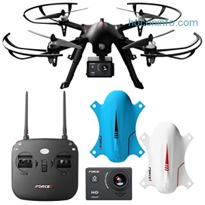 ihocon: Force1 F100 Ghost Drone with Camera - Compatible Go Pro Drone with Brushless Drone Motors and 2 Batteries and 2 Shells