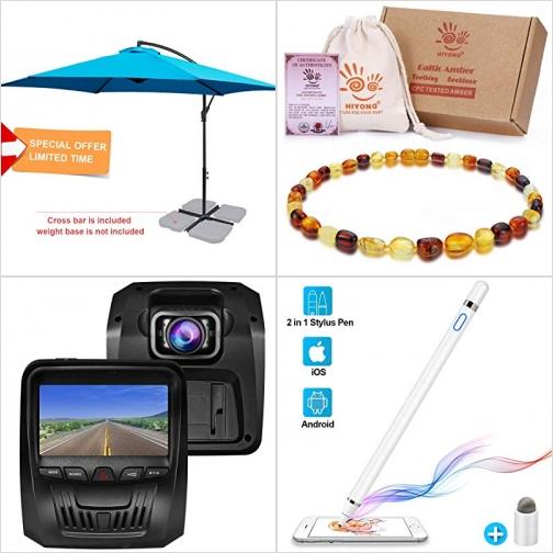[Amazon折扣碼] 10呎遮陽傘, 琥珀Amber嬰兒固齒項鍊, 行車記錄器, 觸控筆 額外折扣!