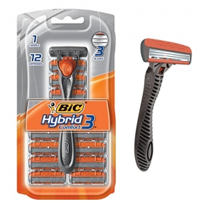 ihocon: BIC Hybrid 3 Comfort Disposable Razor, Men, 12-Count 男士刮鬍刀(含12個替換刀頭)