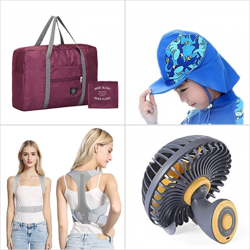 [Amazon折扣碼] 可折疊Duffel Bag, UPF 50 兒童游泳遮陽帽, 姿墊矯正帶, 迷你桌上型小風扇 額外折扣!