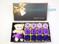 ihocon: Floral Scented Rose Flower Bath Soap with Baby Bear Doll玫瑰花造型香皂+小熊禮盒