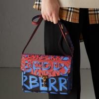 ihocon: Burberry Small Graffiti Print Leather Crossbody Bag