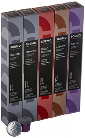 ihocon: [Amazon自家品牌] 50 Ct. Solimo Espresso Pods, Variety Pack, Nespresso OriginalLine Compatible Capsules 咖啡膠囊