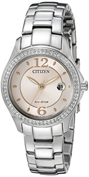 ihocon: Citizen Women's Eco-Drive Silhouette Crystal Watch with Date, FE1140-86X 光動能水晶女錶