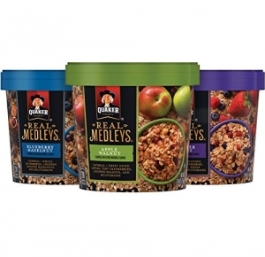 ihocon: Quaker Real Medleys Oatmeal+, Variety Pack, Instant Oatmeal+ Breakfast Cereal (12 Cups) (Packaging May Vary)即時燕麥早餐