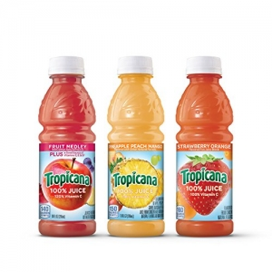 ihocon: Tropicana 100% Juice 3-Flavor Fruit Blend Variety Pack, 10 Fl Oz, Bottles, (Pack of 24)  100%果汁3種風味水果混合品種包裝,10  ,瓶裝,(24包)