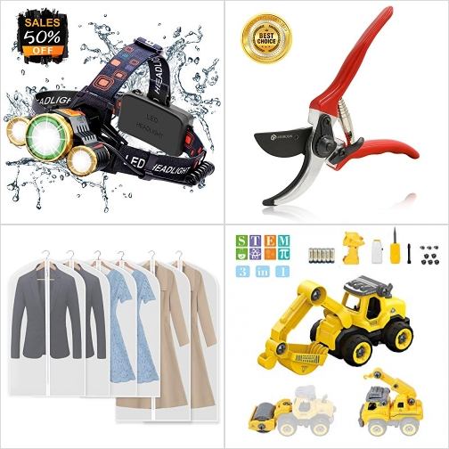 [Amazon折扣碼] LED頭燈, 園藝剪, 衣服防塵套, 遙控組裝挖土機 額外折扣!