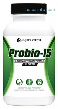 ihocon: Nutratech Probio-15 Probiotics – 15 Billion CFU Probiotic and Prebiotic with Patented ingredients 益生菌