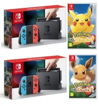 ihocon: Nintendo Switch 32GB Console with Neon Blue and Neon Red Joy-Con + Pokemon: Let's Go, Pikachu!