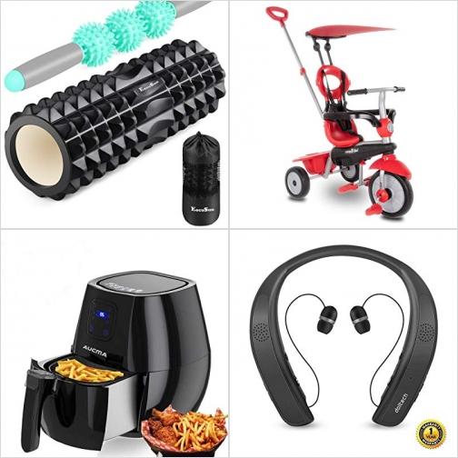 [Amazon折扣碼] 運動按摩滾輪組, 4合1三輪車, 氣炸鍋, 無線耳機 額外折扣!